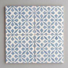 Aveiro tile - handpainted, handmade patterned grey and white tiles from Everett and Blue UK