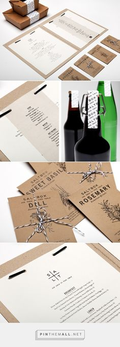 Salt Box packaging branding on Behance by Elyse Taylor, Salt Lake City, UT curated by Packaging Diva PD. Salt Box is a restaurant that only uses local ingredients from local framer and ranchers. Since Salt Box has no freezers it really is from Our Farm to Your Table.