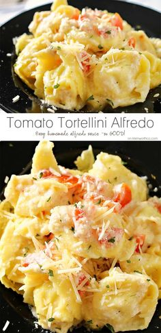 Need an easy family dinner idea that preps in about 20 minutes. Tomato Tortellini Alfredo is tortellini, tomatoes & homemade Alfredo sauce that's amazing! You won't believe how easy this is!