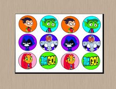 Teen Titans Go Cupcake Toppers ***INSTANT DOWNLOAD*** 12 Teen Titans Go Cupcake Toppers on a sheet Each topper measures approximately 1.75 x 1.75 DOUBLE-SIDED (if you choose to do so!) This listing is for the DIGITAL FILE ONLY which you can then print, cut and assemble as many