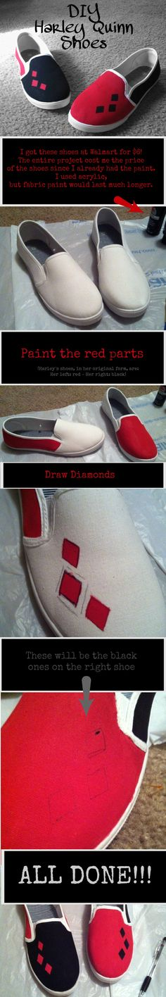 Casual Harley Quinn Shoes - easy and under $6!