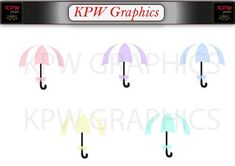Pastel Umbrellas Clip-art Set 2 in a PNG format. Personal & Small Commercial use
