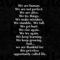 We are human. We are not perfect. We are alive. We try things. We make mistakes. We stumble. We fall. We get hurt. We rise again. We try again. We keep learning. We keep growing. And..we are thankful for this priceless opportunity called life. #Inspirational #Life #Mistakes #Human #picturequotes  View more #quotes on http://quotes-lover.com