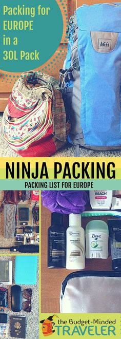 Ninja Packing Tips: Packing list for Europe with just a 30L backpack                                                                                                                                                                                 More