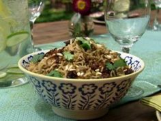 """Lebanese Lentils, Rice and Caramelized Onions (Mujadara):  This recipe dates back to a medieval Arab dish commonly consumed by the poor, reputed to be a derivative of the """"mess of pottage"""" Jacob used to buy Esau's birthright. Because of its importance in the diet, a saying in the Eastern Arab world is, """"A hungry man would be willing to sell his soul for a dish of mujadara."""""""