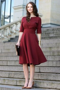 Plus Size Dress, Cocktail Dress, Burgundy Dress Dark red dress with circle skir… Plus Size Kleid, Cocktailkleid, Burgunder Kleid Dunkelrotes Trendy Dresses, Plus Size Dresses, Sexy Dresses, Dress Outfits, Casual Dresses, Fashion Dresses, Short Sleeve Dresses, Dresses With Sleeves, Red Dress Casual