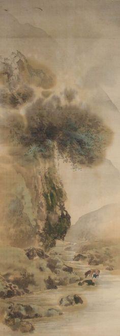 Japanese hanging scroll Landscape painting Written on silk Wall art hsky1-144