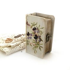 Wedding Spring Violets Wooden Box  small  boxbook by Alenahandmade, $22.50