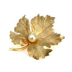 Estate Vintage Eckfeld & Ackley 14k Gold Cultured Pearl Leaf Brooch #vbantiquejewelry