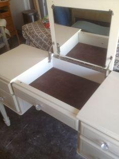 Custom order vintage vanity desk by CahleysRogueRose on Etsy, $399.00