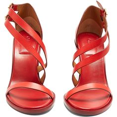 Chloé Niko leather sandals ($875) ❤ liked on Polyvore featuring shoes, sandals, red sandals, high heeled footwear, red strappy sandals, strappy leather sandals and strappy high heel sandals