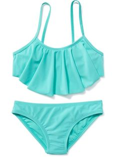 Ruffle-Top Bikini for Girls Product Image Cute Swimsuits, Cute Bikinis, Plus Size Swimsuits, Kids Bathing Suits, Kids Suits, Ruffled Bikini Top, Ruffle Top, Girl Outfits, Cute Outfits