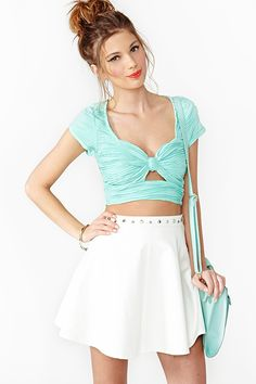 Bow Crop Top in Mint
