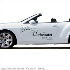 Autoaufkleber Hochzeit - Frisch verheiratet mit Datum