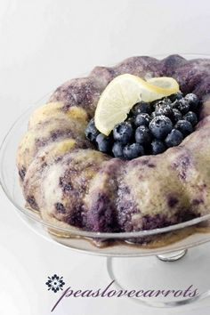 Blueberry Lemon Bundt Cake... made with yellow cake mix and Greek yogurt!      * One box yellow cake mix     * Whatever ingredients the cake mix calls for     * 1 cup of greek yogurt     * 1 cup frozen or fresh blueberries     * 1/2 cup water     * The zest and juice of one lemon