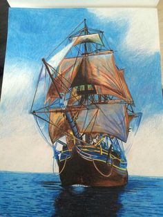 Color pencil ship