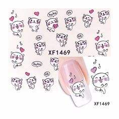 0.1$  Buy here - ZKO 1 Sheet Cute Dancing Cat Design Watermark Beauty Nail Art Tips Sticker Full Wraps Water Transfer Decals 1469   #buyonline
