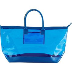 Stephanie Johnson Miami Carry-All Tote - Cobalt - All Purpose Totes ($54) ❤ liked on Polyvore featuring bags, handbags, tote bags, blue, beach tote, zip top tote bags, zippered beach tote, handbags totes and clear purse