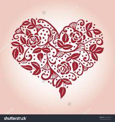 Openwork Heart Card Стоковая векторная иллюстрация 125755913 : Shutterstock