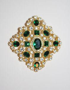 Joan Rivers Large Emerald Brooch  S983