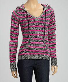 Look at this #zulilyfind! Black & Pink Stripe Hooded Pullover #zulilyfinds