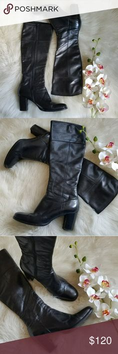 """Dolce & Gabbana Leather Boots Leather boots hit just below the knee. Rounded toe and chucky 3"""" heel. In very good condition. Dolce & Gabbana Shoes Heeled Boots"""
