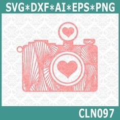 CLN097 Camera Zentangle Heart Love by CraftyLittleNodes on Etsy