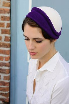 A Milliner's Touch - purple and white 1930's, netting is optional. $375.00, via Etsy.
