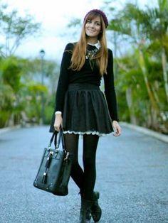 marianela406862 Outfit   Otoño 2012. Combinar Falda Negra nowistyle, Bolso Negro Primark, Cómo vestirse y combinar según marianela406862 el 5-12-2012