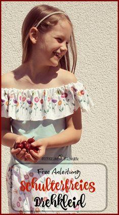 schulterfreies Drehkleid nähen - free schnittmuster Anleitung anfänger - nähen lernen / Kleid Mädchen Kinder