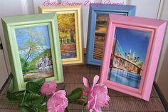 ♥♥ Custom Designed Solid Pink Chunky Set of 4 Photo Frames ♥♥
