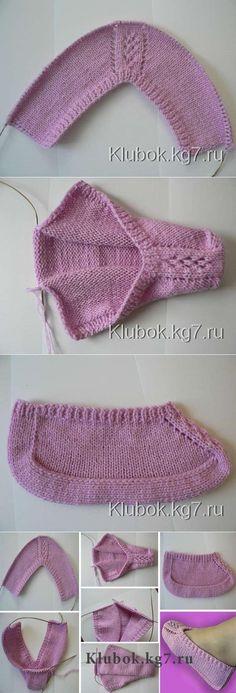 Slippers on two knitting needles (footlets) Easy Knitting, Loom Knitting, Knitting Stitches, Knitting Socks, Knitting Needles, Crochet Girls Dress Pattern, Knit Vest Pattern, Knitting Patterns, Crochet Gloves