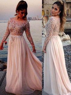 long sleeves prom dress,beaded prom dress,modest prom dress,,2017 Formal Gown,floor-length evening dress,BD2610
