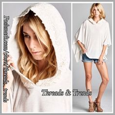 Lace Hooded Poncho Oatmeal hooded poncho with lace detail. Great universal poncho in a neutral color to pair with many looks. Light weight transitional piece. Gorgeous lace trim on the hood. 3/4 length sleeve. Made of a soft cotton. Size OSFM Threads & Trends Sweaters Shrugs & Ponchos