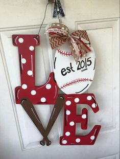 Love Baseball Wooden Door Hanger ○ Craft Night Out located in Statesville Nc