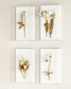 Tommy Mitchell Gilded Flower Studies in Acrylic - metal floral sculptures mounted on linen and hung in acrylic boxes. Shown clockwise from top left: Gilded Lilac; Gilded Lily of the Valley. Acrylic Wall Art, Acrylic Box, Diy Wall Art, Wall Art Decor, Flower Studio, Creation Deco, Lily Of The Valley, Metal Walls, Shadow Box