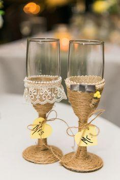Rustic wedding toasting glasses