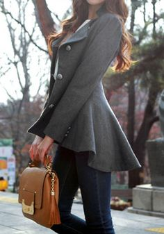 Asymmetric Fit-and-flare Blazer - Grey @LookBookStore