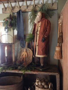 Discover recipes, home ideas, style inspiration and other ideas to try. Primitive Christmas Decorating, Primitive Country Christmas, Primitive Santa, Country Christmas Decorations, Prim Christmas, Antique Christmas, Christmas Past, Winter Christmas, Father Christmas