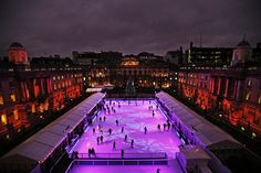 Credit: Lefteris Pitarakis/AP A view of the newly-opened ice rink at Somerset House, London. The ice rink, which has become an annual event, will be open for the festive period