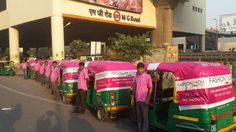 Pink autos stationed at MG Road Metro Station to provide ladies with Free and Safe Auto Rides to their workplace.  #breastcancer, #fashionandyou