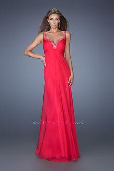 La Femme 19647- long chiffon prom dress- hot fuchsia prom dress- chiffon prom dress- v back evening gown- jewels-rhinestones- rhinestone trim prom dress- prom- low drop neckline gown- pink prom dress- bright prom dress-