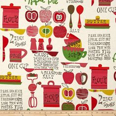 Alexander Henry In The Kitchen Oh My Apple Pie Tea/Dk Pink from @fabricdotcom  Designed by DeLeon Design Group for Alexander Henry, this cotton print is perfect for quilting, apparel and home decor accents. Colors include shades of chartreuse, red, pink, green, ivory and brown.