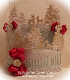 Elegant Snow Swept Bendy Card using CottageCutz Dies and Really ReasonableRibbon/ Sweeet Designs By Cheryl