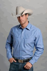 Blue Pinpoint Long Sleeve Oxford by Stetson.....Isaac would look soo good in this shade of blue!