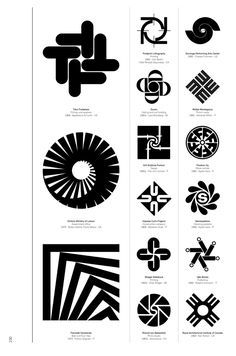 Modernist logos designed to visually represent rotation of varying sorts.