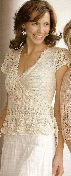 crochet coat blouse top-It is beautiful. I will try to make it. The terms translated from Russian are sometimes hard to follow.
