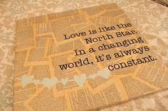 Old book pages on canvas, cute quote about love - what's not to love? :)