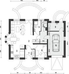 Rzut parteru projektu Dom Dla Ciebie 5 z garażem 1-st. [A] Floor Plans, House Design, Modern, Architecture Design, House Plans, Home Design, Floor Plan Drawing, House Floor Plans, Design Homes