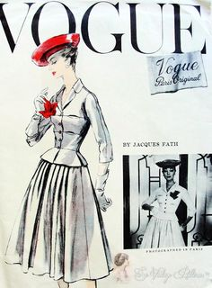 RARE Jacques Fath 1950s Suit Pattern Beautiful Fitted Jacket Nip In Waist, Flattering Full Skirt Vogue Paris Original Couture 1336 Vintage Sewing Pattern Factory Folded Bust 36